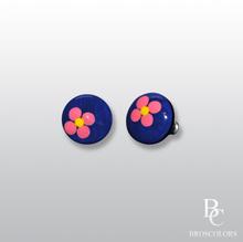Сини кръгли обеци с Цветя