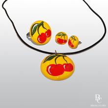 Коммплект рисувани бижута от керамика - ЧЕРЕШКИ
