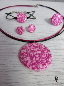 Комплект Абстракт в Розово и Цикламено