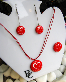 Комплект Керамични Бижута Сърца