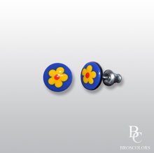 Обеци на Винт в Синьо и Жълто