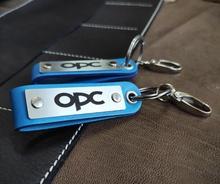 Ключодържател с Персонален надпис със синя кожа. Изберете Дизайн тук !