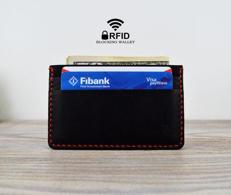 Картодържател от Естествена Кожа с RFID Защита