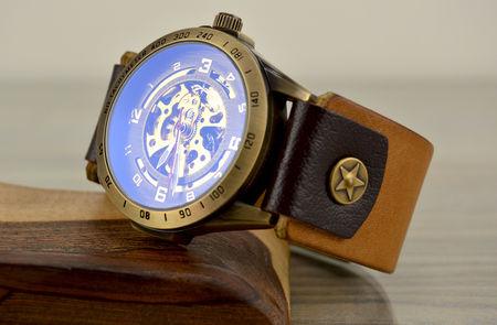 Мъжки Скелетон Часовник - Естествена кожа