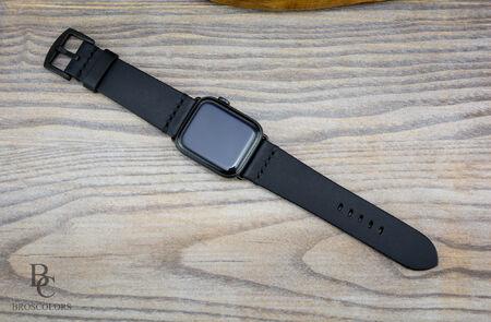 Каишка за Apple Watch Ръчно Зашита/ Черна кожа