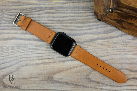Каишка за Apple Watch Ръчно Зашита / Светло Кафява