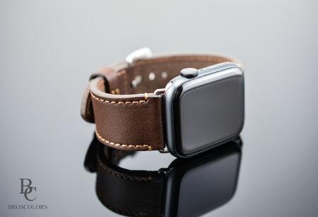 Кожена Каишка за Часовник Apple Watch/Тъмно Кафява