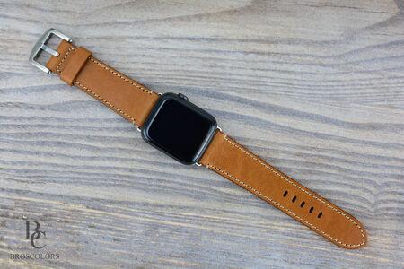 Кожена Каишка за Часовник Apple Watch/Светло Кафява
