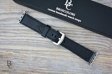 Кожена Каишка за Часовник Apple Watch/Черна Кожа